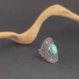 Srebrny pierścionek z turkusem (regulowany)