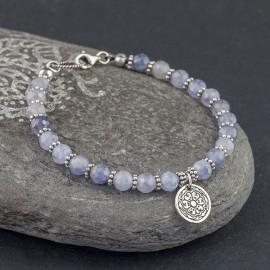 Srebrna bransoletka z kamieni iolitu