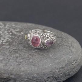 Srebrny pierścionek z turmalinami (rozm.17)