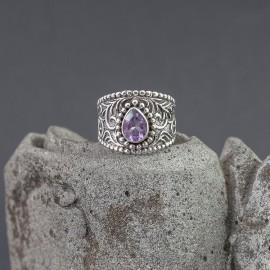Srebrny pierścionek z ametystem (rozm.16+)