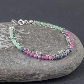 Srebrna bransoletka z rubinu, szafiru i szmaragdu