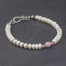 Srebrna bransoletka z pereł, rubinu i akwamarynu
