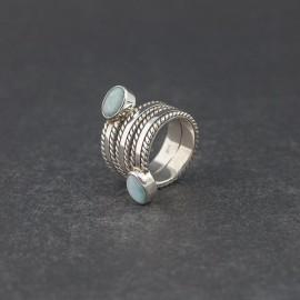 Srebrny pierścionek z larimarem (rozm.11)