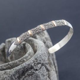 Srebrna bransoletka z 18-karatowym złotem