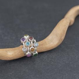 Srebrny pierścionek z kamieniami naturalnymi (rozm.11)