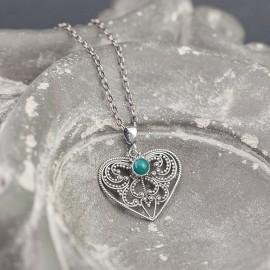 Srebrny wisiorek serce z zielonym onyksem
