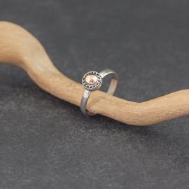 Srebrny pierścionek ze złotem 18K (rozm.14)