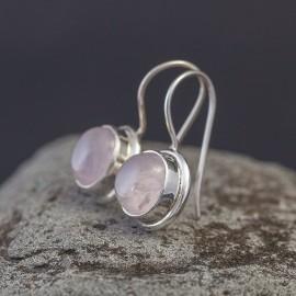 Srebrne kolczyki z kwarcem różowym