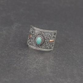 Srebrny pierścionek z turkusem i złotem 18K (rozm.17)