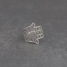 """Srebrny pierścionek """"Ręka Fatimy"""" (rozm.12)"""