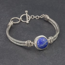 Srebrna bransoletka z lapisem lazuli