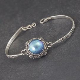 Srebrna bransoletka z masą perłową