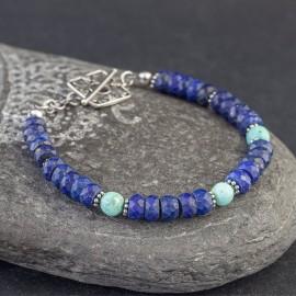 Srebrna bransoletka z lapisem lazuli i turkusem