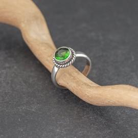 Srebrny pierścionek z obsydianem zielonym (rozm.12)
