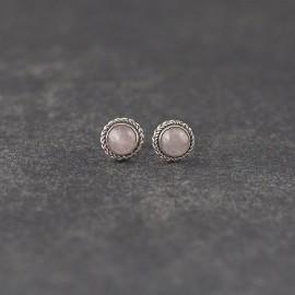 Srebrne sztyfty z kwarcem różowym