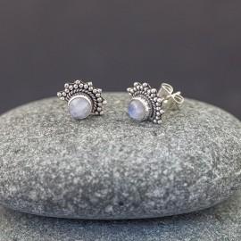 Srebrne sztyfty z kamieniem księżycowym