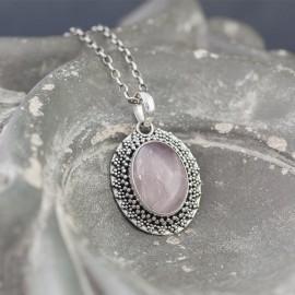Srebrny wisior z kwarcem różowym