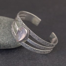 Srebrna bransoleta z kwarcem różowym