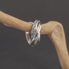 Srebrny potrójny pierścionek (rozm.15)