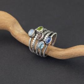 Srebrny pierścionek z kamieniami naturalnymi (rozm.19)