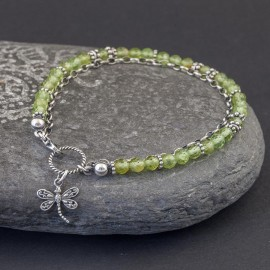 Srebrna bransoletka z kamieni peridotu