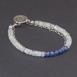 Srebrna bransoletka z kamieni księżycowych i kyanitu
