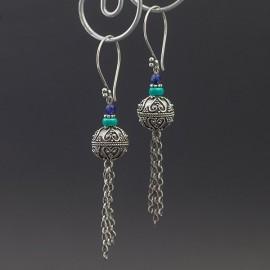 Srebrne kolczyki z turkusem i lapisem lazuli