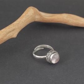 Srebrny pierścionek z kwarcem różowym (regulowany)