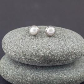 Srebrne sztyfty z perłą