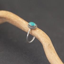 Srebrny pierścionek z turkusem (rozm.8,5)