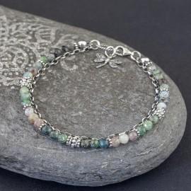 Srebrna bransoletka z kamieni kyanitu