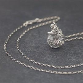 Srebrny naszyjnik - smok z kryształem górskim