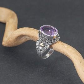 Srebrny pierścionek z ametystem (rozm.19)