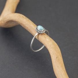 Srebrny pierścionek z larimarem (rozm.18)