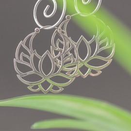 Srebrne kolczyki kwiat lotosu