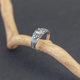 Srebrny pierścionek z kwarcem różowym (rozm.17)