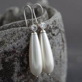 Srebrne kolczyki z perłą i cyrkonią