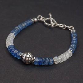 Srebrna bransoletka z kamieniem księżycowym i kyanitem
