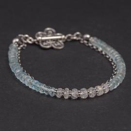 Srebrna bransoletka z błękitnego topazu i kamienia księżycowego