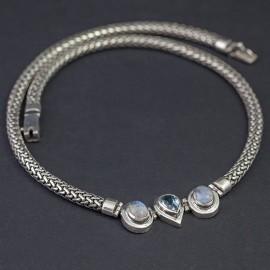 Srebrny naszyjnik z kamieniem księżycowym i topazem