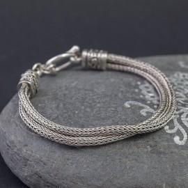 Srebrna bransoletka z ręcznie plecionym łańcuchem