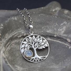 Srebrny wisiorek z drzewem życia i kamieniem księżycowym