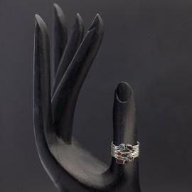 Srebrny pierścionek z kamieniami naturalnymi (rozm.15)