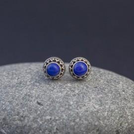 Srebrne sztyfty z lapisem lazuli