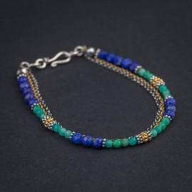 Srebrna bransoletka z lapisem lazuli i amazonitem rosyjskim