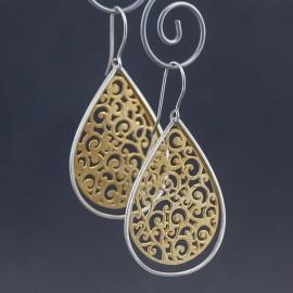 Srebrno-złote kolczyki w stylu orientalnym