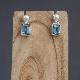 Srebrne kolczyki z perłą i błękitnym topazem