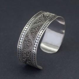 Srebrna bransoletka bangla w balijskim stylu