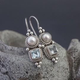 Srebrne kolczyki z perłą i topazem