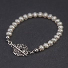 Srebrna bransoletka z pereł